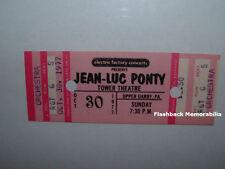 Jean-Luc Ponty 1977 Concert Ticket Tower Theatre Philadelphia Mahavishnu Zappa