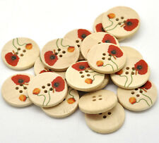 50 New 4 Holes Wood Sewing Buttons 25mm