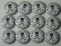 DEATH WISH COFFEE NEW 12 PIN PINBACKS BADGE ONE INCH DIAMETER