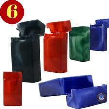 6 Marble Multi Color Top Flip Open Plastic Cigarette Case Pack Holders 100's