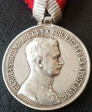 ✚8043✚ Austro-Hungarian WW1 Bravery Medal SILVER IV. KARL FORTITUDINI POST 1916