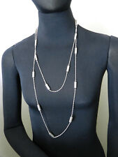 Sterling Silver Rectangle Stations Very Long Rope Necklace