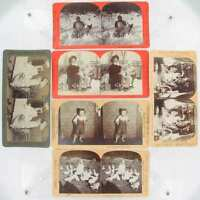 ANTIQUE STEREOVIEW CARDS 6 CHILDREN SCENES REAL PHOTOS