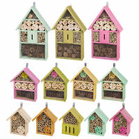 Small Large Wooden Insect Bug Hotel House Wood Shelter Box Roof Coloured Natural