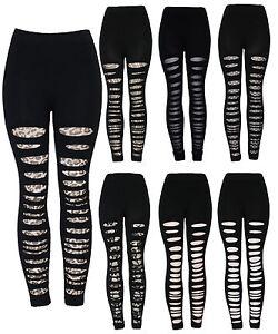 New Ladies Women's Fashion Leopard print Lace Ripped Leggings size 8-14