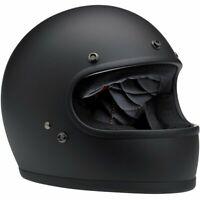 Biltwell Flat Matte Black Gringo Retro Motorcycle Helmet with FREE GOGGLES!