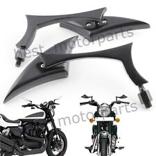 BLACK MOTORCYCLE TRIANGLE REARVIEW SIDE MIRROR FOR HARLEY CRUISER CHOPPER CUSTOM