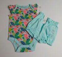 NWT Baby Gap Girl's 2Pc Outfit Bodysuit/Bubble Shorts Blue 3-6M 6-12 MSRP$30 New