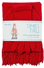 Time and Tru 3 piece soft knit set Red Hat Beanie, Glove, and Scarf