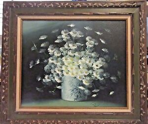 Original Vintage Painting by Listed Artist Nancy Lee - Floral/Daisies