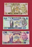 ZAMBIA UNC NOTES 2 Kwacha '86 (P24c), 10 Kwacha '86 (P26e) & 50 Kwacha '86 (P28)
