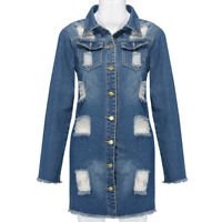 Women Button Long Sleeve Pockets Denim Hole Open Front Jean Jacket Overcoat Tops
