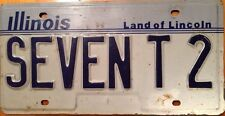 Illinois vanity SEVEN T 2 license plate Number 72 Seventy Two 1972 Years Old Age