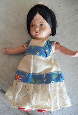 "Vintage 1930s Era Jointed Composition Ethnic Girl Character Doll  8"" Tall"