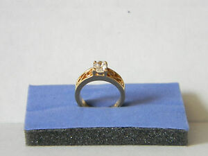 CUBIC ZIRCONIA,  GOLD PLATE RING SIZE 6 ESTATE SALE