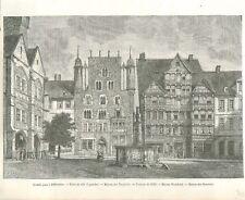 Grande Place à Hildesheim Hôtel-de-Ville Maison des Templiers GRAVURE 1885