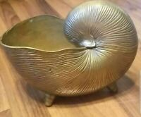 Huge Vintage Mid-Century Brass Shell Planter - Great Quality and Details!