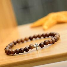 2019 Men Women 6MM Wood Beads Cross Hematite Healing Balance Bracelets Jewelry