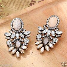 HOT Woman Statement clear crystal Rhinestone long Ear Studs hoop earrings 10