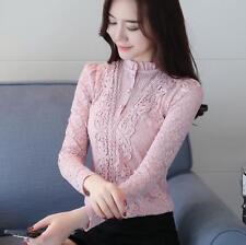 Korean Elegant Lace Crochet Slim Spring Blouse Casual Tops Shirt High Quality