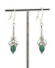 Vintage Sterling Silver & Chrysoprase Decorative Dangling Latching Wire Earrings