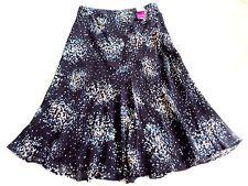 M&S Black Navy Blue Floral Sheer Flared Mermaid Long flowing Maxi Skirt 14 - 16