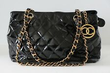 Auth Chanel Black Quilted Patent Leather CC Charm Shoulder Bag Tote