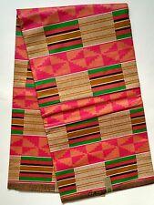 African Fabric, Ankara - Gorgeous Pink, Green, Brown Kente, By the Yard