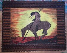 vtg tramp art frame with bonus painting! 21� X 17�