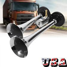 12V Truck Train Boat RV 150db Super Loud Dual Trumpet Air Horn Chrome W/Solenoid