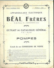Catalogue 1923 Béal Frères Appareil électrique Pompe Technique industrie