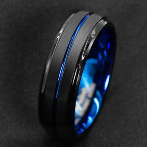Fashion Party Titanium Ring Men Wedding Stainless Steel Band Jewelry Size 6-13