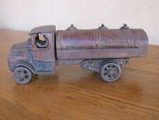 Antique 1925 Arcade Cast Iron Mack Gasoline Tank Truck w/ Driver Toy Tanker M 8