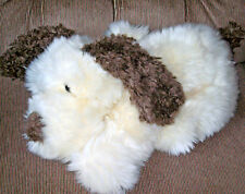 Russ Berrie DAWG Puppy Dog Cream & Brown Soft Furry 15in Plush Lovey Brown Eyes