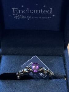 Enchanted Disney Silver with Black Rhodium Diamond and Amethyst Ursula Ring sz8