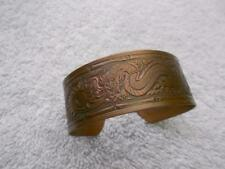 VINTAGE CHINESE DRAGON MOTIF SOLID COPPER CUFF BRACELET