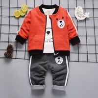 Kleinkind Kinder Jungen Outfit Kleidung Infant Bär einfachen Mantel+Tops+Hose