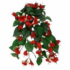 Artificial Silk Fuchsia Bush Trailing 38cm Red Cream