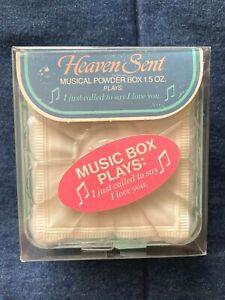 VINTAGE HEAVEN SENT MUSICAL POWDER BOX 1.5 OZ.