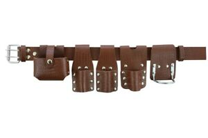 New Heavy Duty Scaffolding Brown Craft Leather Full Tools Belt Tool Holders