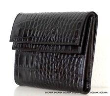 Furla Trifold Croc Black Leather Double Flap Wallet Organizer Photo Holder New