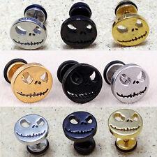 Women Men 316L Surgical Titanium Halloween Skull Face Piercing Earrings Stud 1pc