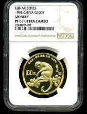 China 1992 G100 Yuan Proof Gold Year of the Monkey PF68 Ultra Cameo Lunar Series
