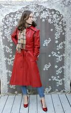 Vintage �🥀� Red Leather Trench Coat (11/12, Modern Size S/M) Matching belt