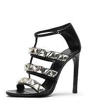 NIB GUCCI Sz 39 / 9 Black Leather Crystal Triple Band Strappy Sandals Heel Shoes