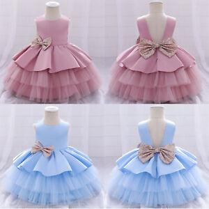 Kids Girls Dress Multi Layer Bow Princess Summer Birthday Party Wedding Clothing