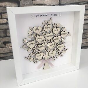 Personalised Family Tree Diamond Wedding Anniversary Grandparents Gift