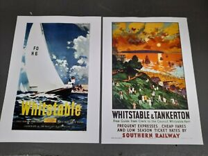 x3 Whitstable/Tankerton /Dover Poster/print.Kent.Seaside.Oysters.Harbour.Railway