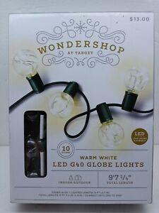 """Wondershop LED G40 Globe Lights, 10 globes, 9'7"""", indoor/outdoor.  New"""