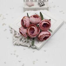 6Pcs Artificial Silk Peony Flower Rose Wedding Bridal Bouquet Party Decoration